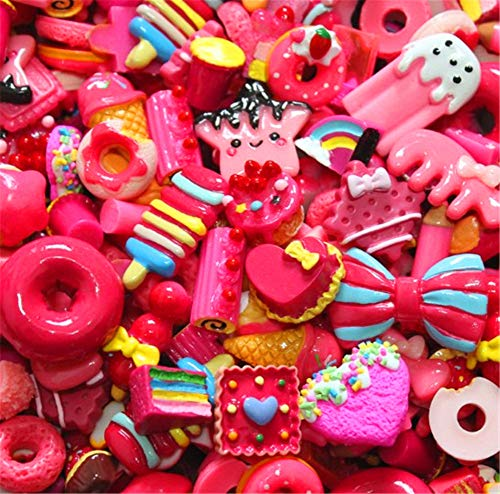 30 Pack Cute Candy Slime Beads Fruit Dessert Ice Cream Resin Charms Slices Flatback Buttons for Handcraft Accessories Scrapbooking Phone Case Decor (Red)