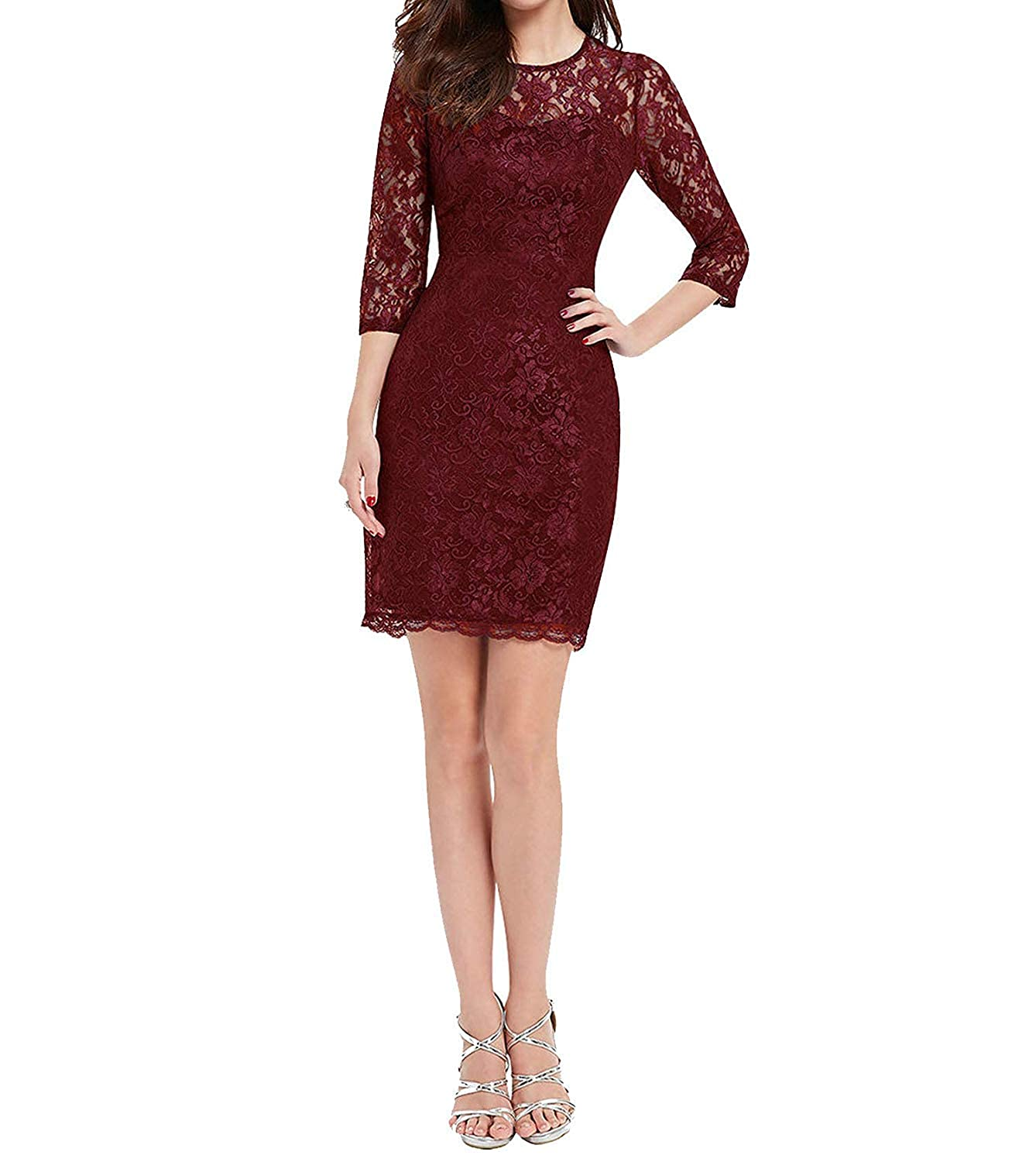 Burgundy Red Anewsex Nice Cocktail Special Occasion Long Sleeve Slim Fit Lace ss