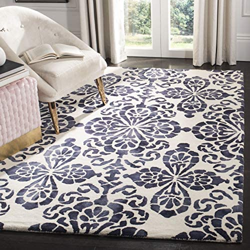 Safavieh Dip Dye Collection DDY719P Ivory and Navy Area Rug, 9 x 12