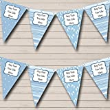 Party Banner Bunting Boy Blue Footprints Welcome Home New Baby