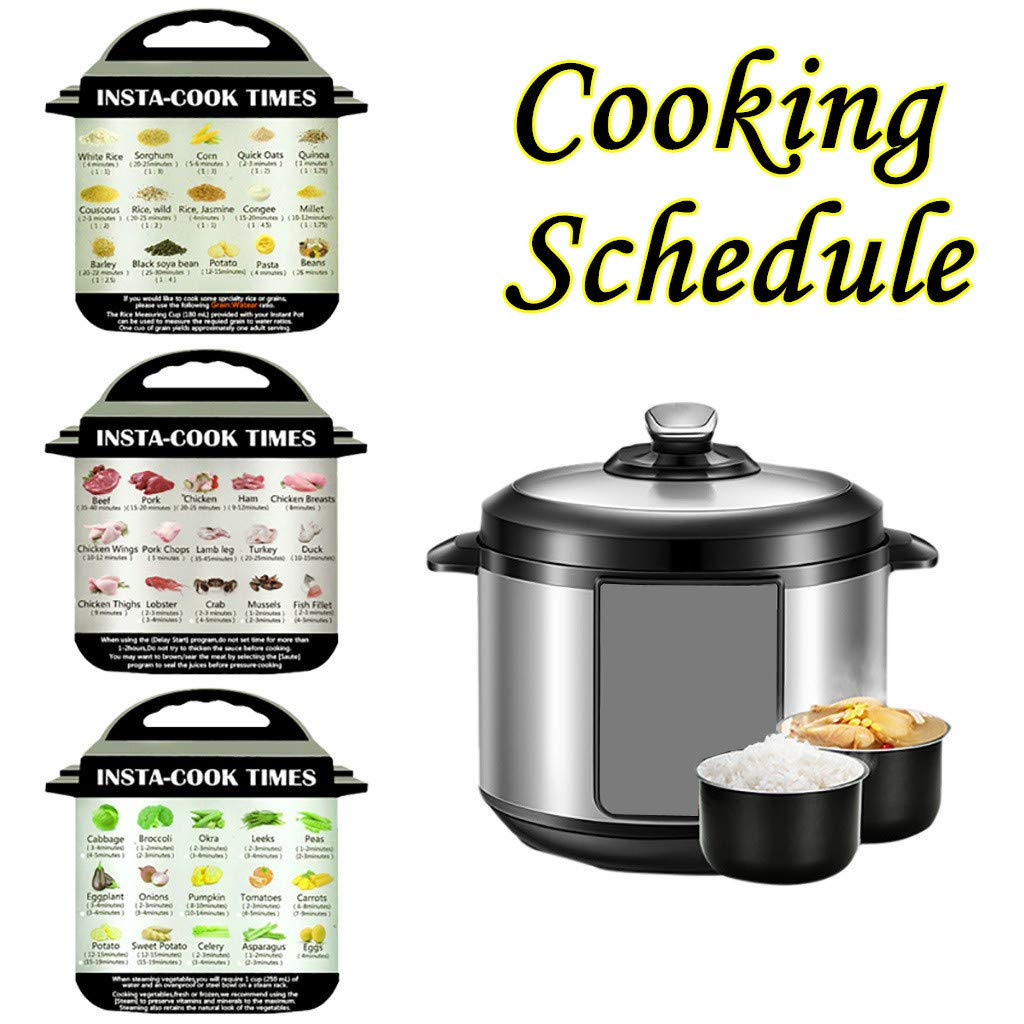 3Pcs Cooking Schedule Magnetic Cheat Sheet, Rendodon Compatible with Instant Pot Food Images Magnet Cooking Times Accessories for 45 Common Prep Functions