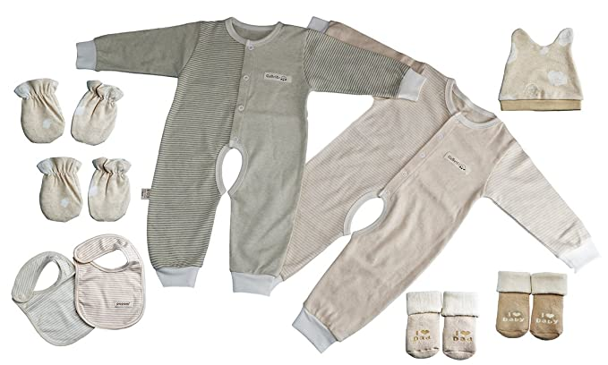Amazon Com Yuhua Nature Colored Cotton Unisex Newborn Gowns Layette