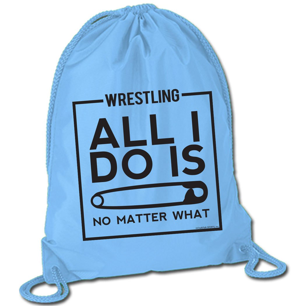All I Do Is Pin Cinch Sack | Wrestling Bags by ChalkTalkSPORTS | Light Blue