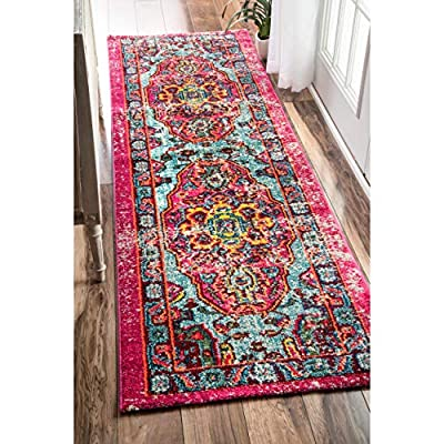 """nuLOOM Corbett Vintage Boho Runner Rug, 2' 6"""" x 8', Multi - Made in Turkey PREMIUM MATERIAL: Crafted of durable synthetic fibers, it has soft texture and is easy to clean SLEEK LOOK: Doesn't obstruct doorways and brings elegance to any space - runner-rugs, entryway-furniture-decor, entryway-laundry-room - 61EG6sEKurL. SS400  -"""
