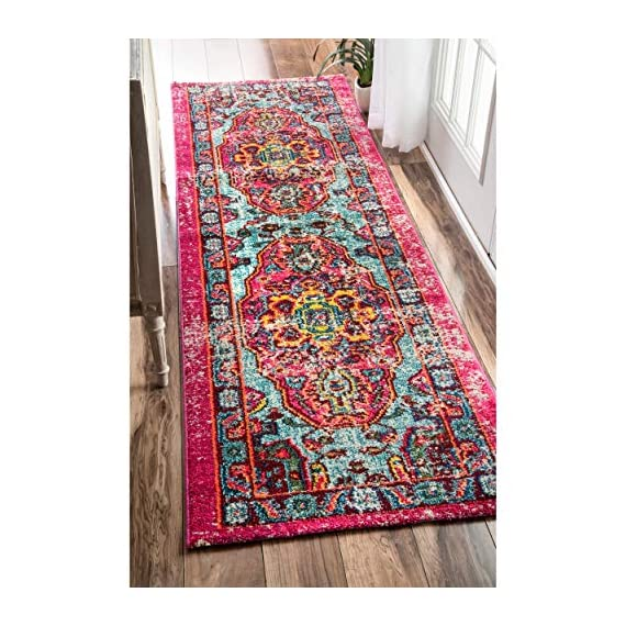 "nuLOOM Corbett Vintage Boho Runner Rug, 2' 6"" x 8', Multi - Made in Turkey PREMIUM MATERIAL: Crafted of durable synthetic fibers, it has soft texture and is easy to clean SLEEK LOOK: Doesn't obstruct doorways and brings elegance to any space - runner-rugs, entryway-furniture-decor, entryway-laundry-room - 61EG6sEKurL. SS570  -"