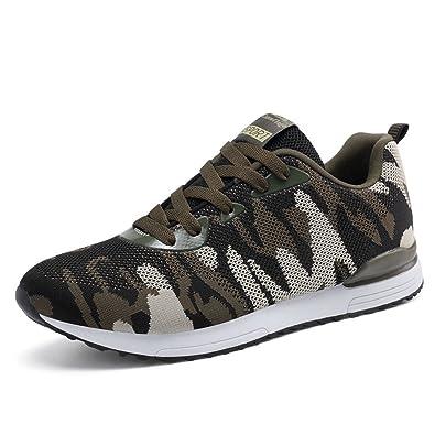 LanFengeu Unisex - Erwachsene Rundzehen Schnür-Sneakers Profilsohle Anti-Rutsche Herren&Damen Camouflage Turnschuhe Outdoor Straßenlaufschuhe Armee-Grün 38 EU MAHM5UIc