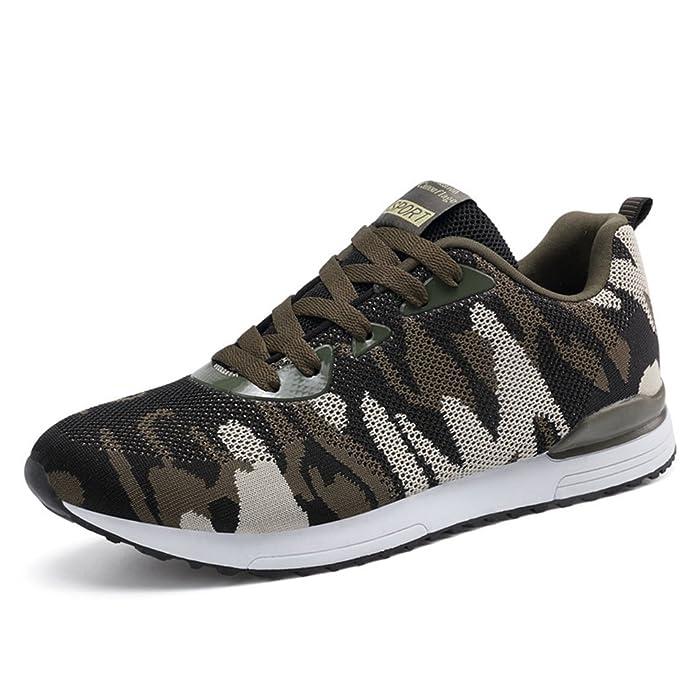 Unisex - Erwachsene Rundzehen Schnür-Sneakers Profilsohle Anti-Rutsche Herren&Damen Camouflage Turnschuhe Outdoor Straßenlaufschuhe Armee-Grün 41 EU 4XPk3jwYOW