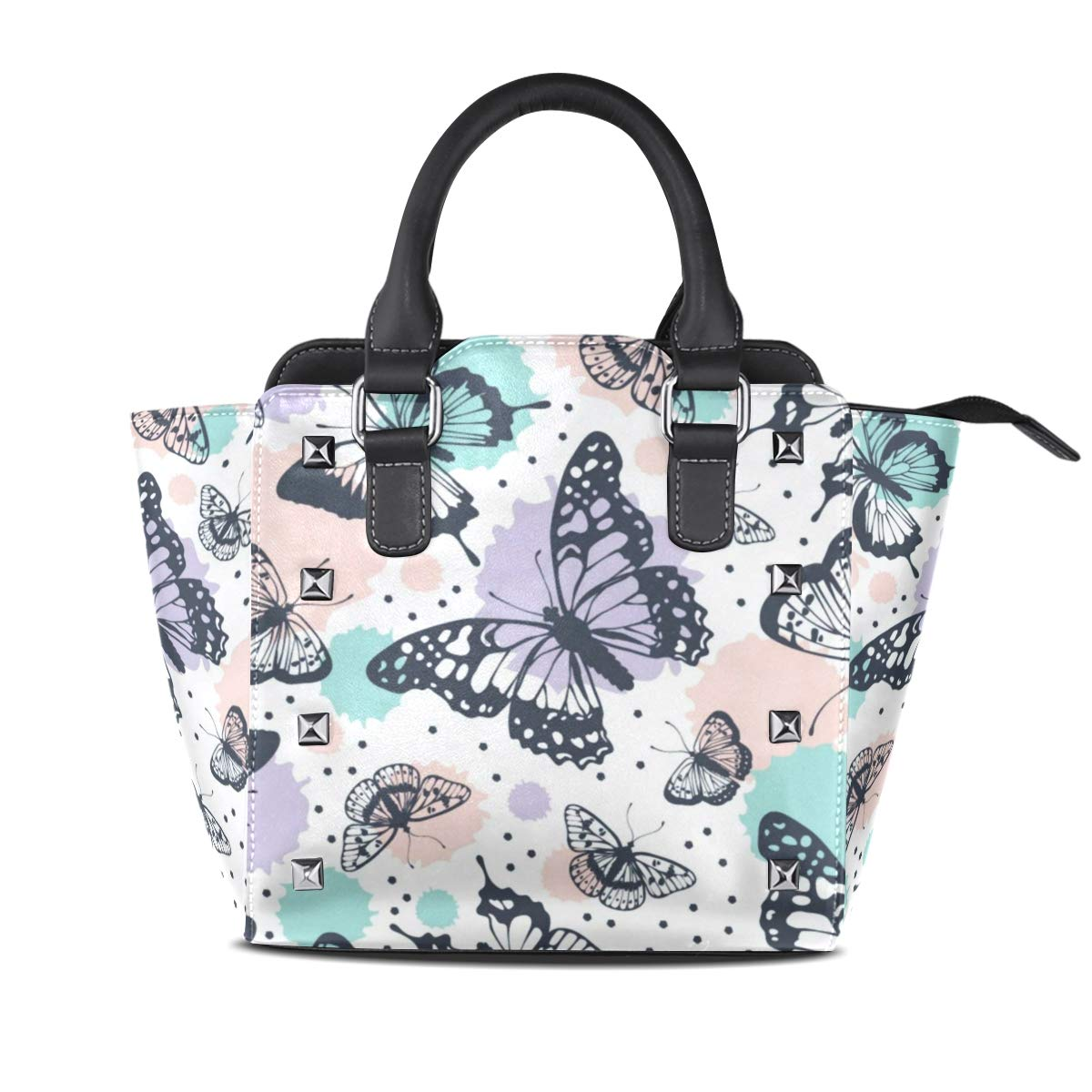 Design1 Handbag colorful Butterfly Genuine Leather Tote Rivet Bag Shoulder Strap Top Handle Women