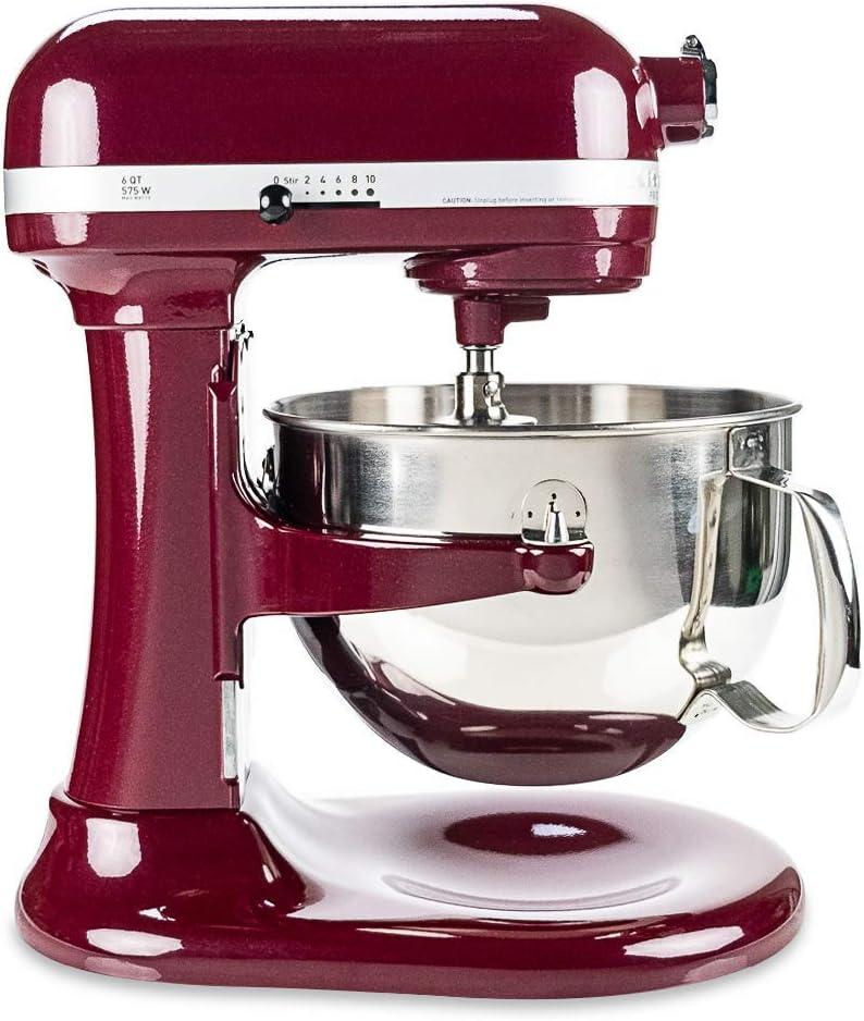 KitchenAid RKP26M1XBX Professional 600 Series Refurbished 6 Quart Bowl-Lift Stand Mixer, 6 Qt, Bordeaux (Renewed)