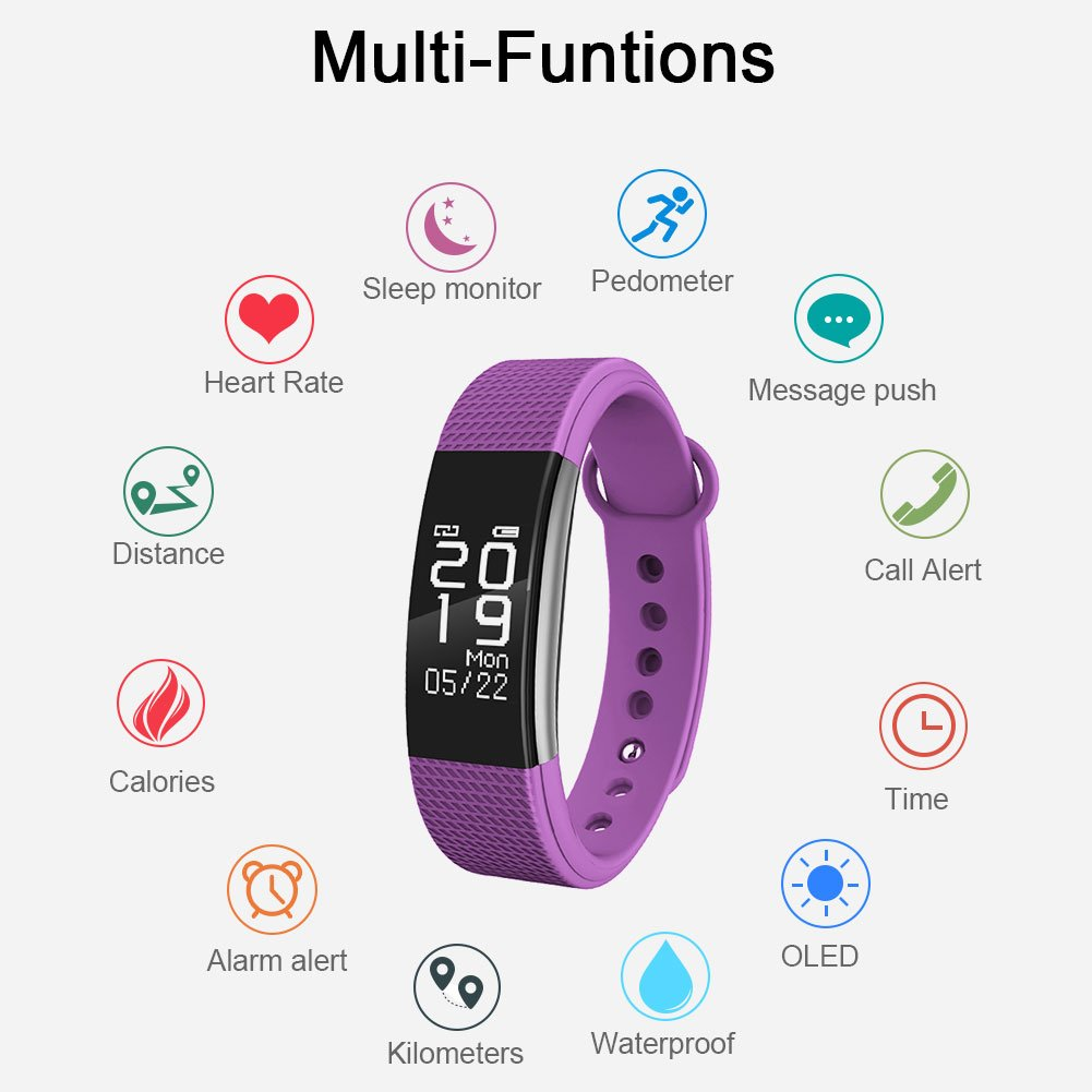 Fitness Tracker Heart Rate Monitor Touch Screen Smart Wristband F1 Plus Original Bracelet Color Activity Pedometer With Waterproof And Sleep For Andorid