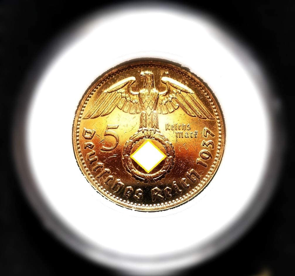 Selbst 5 Reichsmark 1937 Motiv Adler//Hindenburg 24 Karat Vergoldet