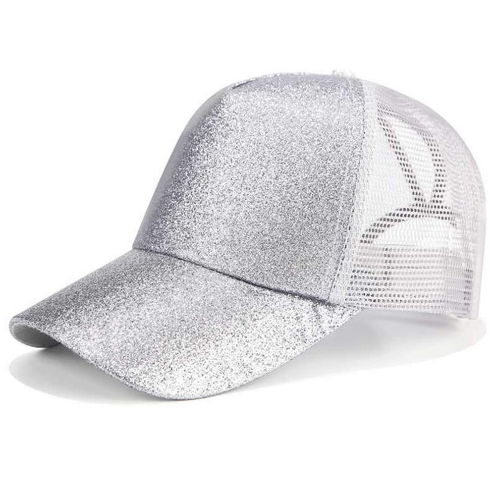 Glitter Ponytail Baseball Cap Women Snapback Dad Hat Mesh Caps Messy Bun Summer Hat Female Adjustable Hip Hop Hats