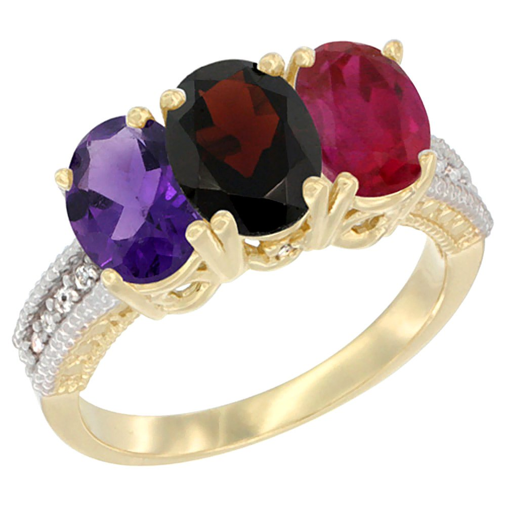 10K Yellow Gold Natural Amethyst, Garnet & Enhanced Ruby Ring 3-Stone Oval 7x5 mm Diamond Accent, size 6