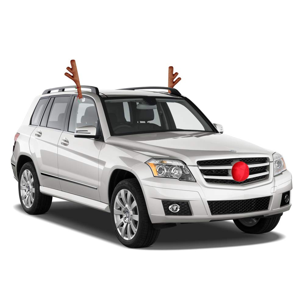 Reindeer Antlers for Car with Plush Reindeer Nose for Car Grille Window Roof-Top /& Front Grille Rudolf Reindeer Vehicle Costume with Jingle Bells Car Antlers ZATAYE Car Reindeer Antlers /& Nose