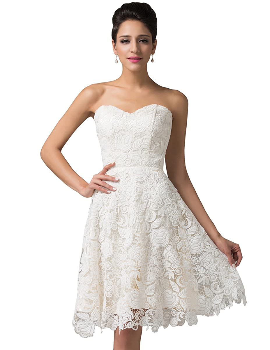 92fd96f0c2805 Amazon.com: GRACE KARIN Strapless Lace Short Prom Wedding Dress Size ...