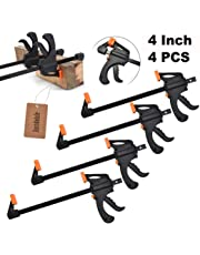 JUSTDOLIFE Bar Clamp Set, Quick Release One Handed Bar Clamps with F Shaped Design, Woodworking Hand Tools for Carpenter (4 Inch)