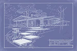 301 Cypress Dr. Blueprint - Inverse by Larry Hunter Art Print, 30 x 20 inches