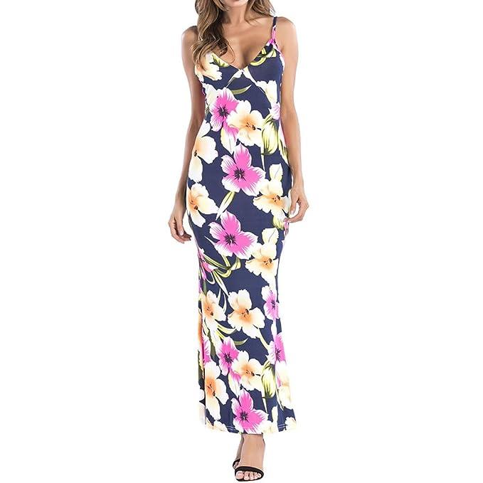 iBaste Talla Grande Boho Mujer Casual Largo Vestido Estampado Flores Sexy Vestidos de Playa Cuello-V Spaghetti Straps Maxi Dress: Amazon.es: Ropa y ...