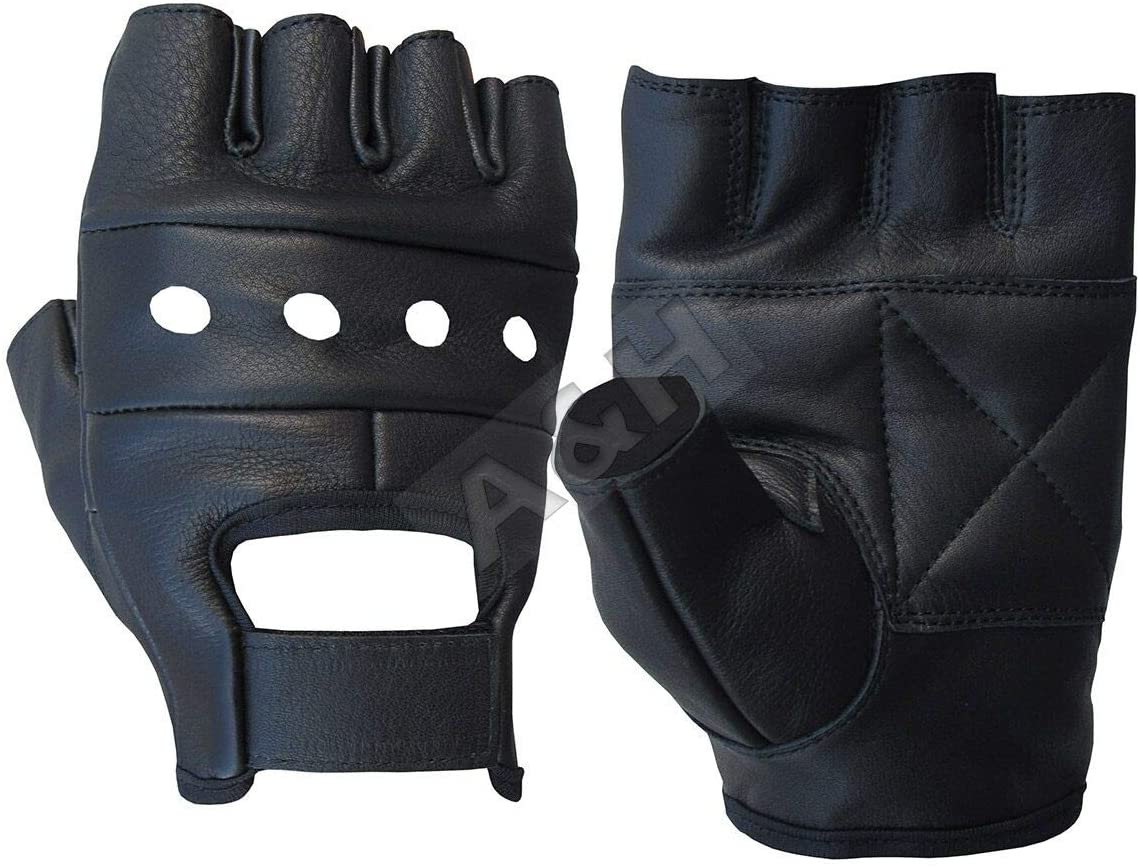 A/&H Apparel Leather Motorcycle Glove Genuine Cowhide Fingerless Leather Driving Gloves Large