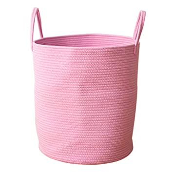 Amazon.com : Yunt Cotton Woven Storage Basket Storage Baskets Woven Basket  Cotton Rope Basket Nursery Bins Decorative (Pink, L) : Baby