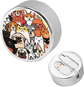 4ft Retractable Multi Cable Different Doodle Cats and Dogs Animal 2 in 1 Retractable Powerline Type C Data Cable Durable Charging Cable for Android Smartphones and More