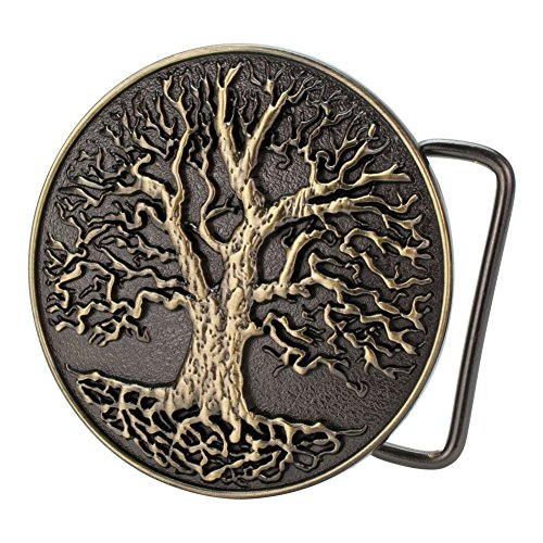 Buckle Rage Circular Men's Tree Of Life Roots Branches Design Bronze Belt Buckle - Design Belt Buckle