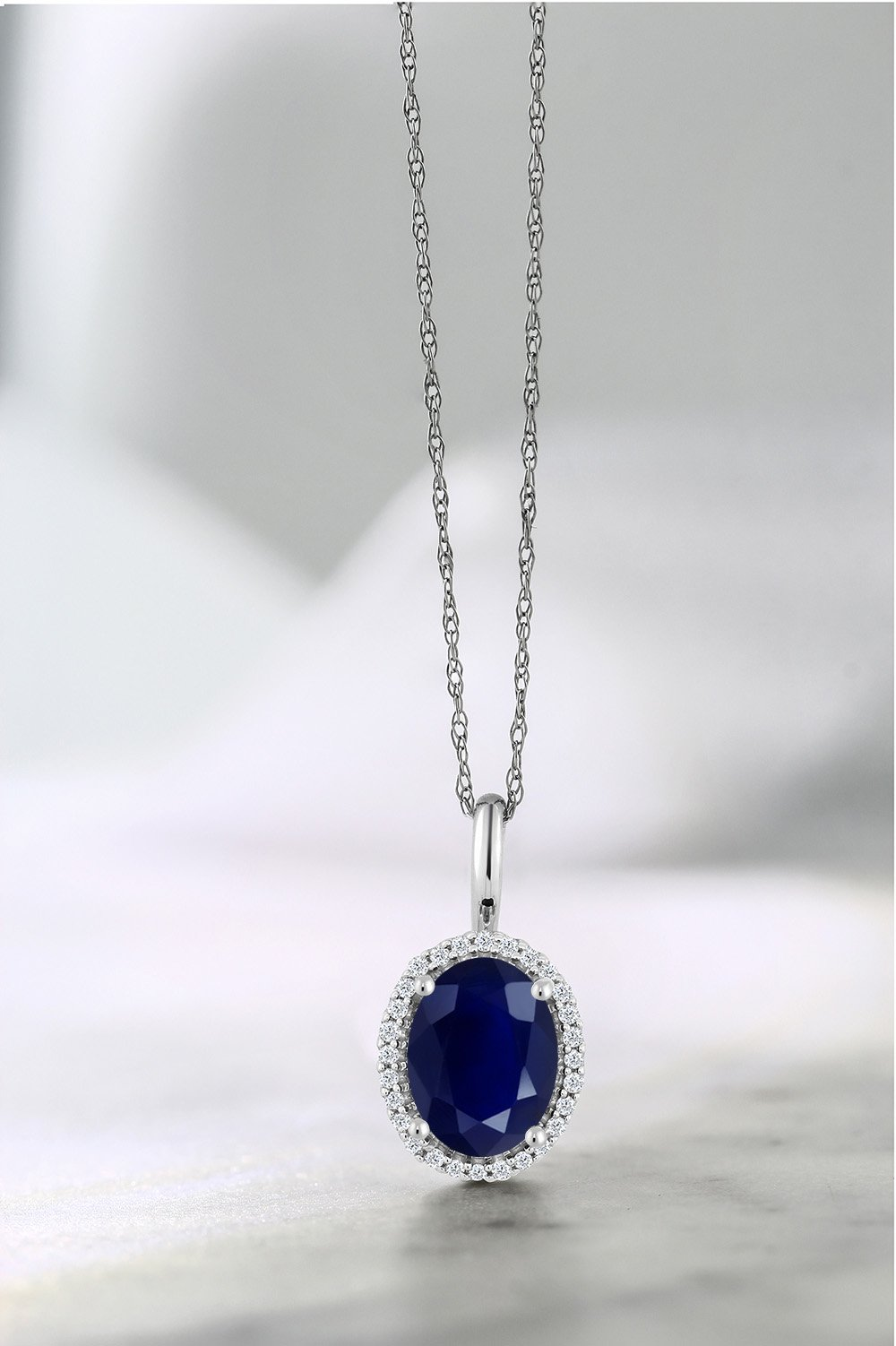 10K White Gold 1.79 Ct Oval Blue Sapphire and Diamonds Pendant With Chain by Gem Stone King (Image #4)
