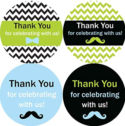 Amazon Com 2 Inch Thank You Stickers Boy Baby Shower Favors Little Man 60 Labels Blue Black Health Personal Care