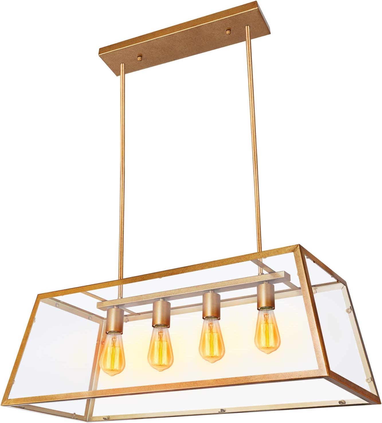 Paragon Home 4-Light Kitchen Island Pendant Lighting, Antique Brass Shade with Clear Glass Panels, Dining Room Lighting Fixtures, Modern Industrial Chandelier, E26 Base Bulbs Not Included