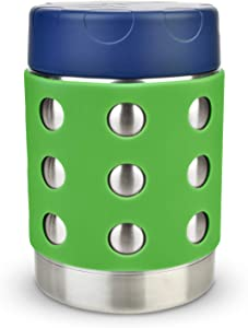 LunchBots Thermal 12 oz Triple Insulated Food Container - Hot 6 Hours or Cold 12 Hours - Leak Proof Thermos Soup Jar - All Stainless Interior - Navy Lid - Green Dots