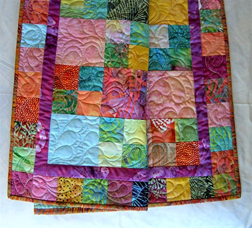 Quilted Bright Jewel Tone Crib Lap Throw 37 x 41 Inches - Bali Comforter