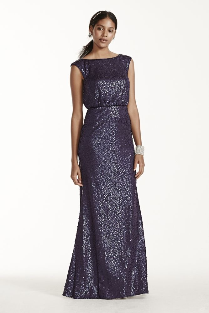 David's Bridal Long Sequin Blouson Bridesmaid Dress Style F19022, Navy, S
