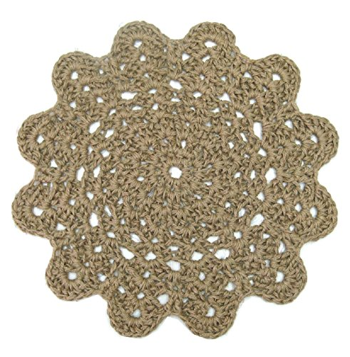 Jute Flower Area Rug - Natural Fiber - Handmade Crochet - 28""