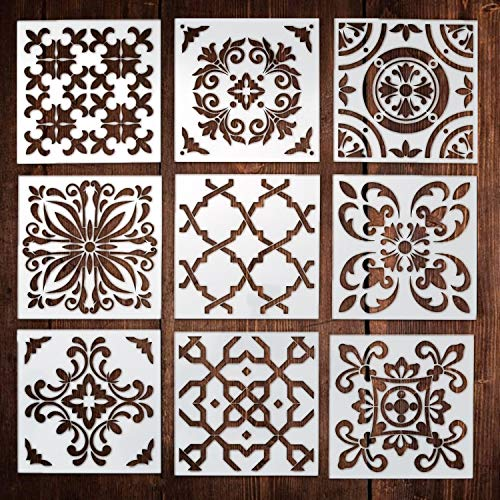 9 Pack Premium Quality Reusable Stencils (6x6 inch) Laser Cut Painting Stencil Painting Stencils for Painting on Wood,Airbrush and Walls Art