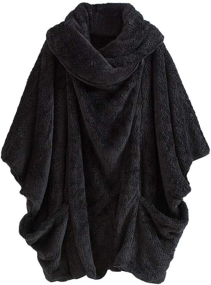 Escudo de Manga de murciélago con Cuello Alto para Mujeres Talla Grande,ZARLLE Mujeres Casual Cuello Alto sólido Bolsillos Grandes Capa Abrigos Abrigos Grandes