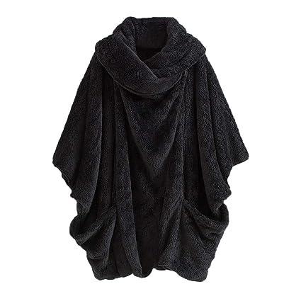 1574b985858 Amazon.com  Franterd Oversize Coats Women Solid Turtleneck Big Pockets  Cloak Coats Warm Double-Faced Fluffy Plush Bat Sleeve Pullover  Sports    Outdoors