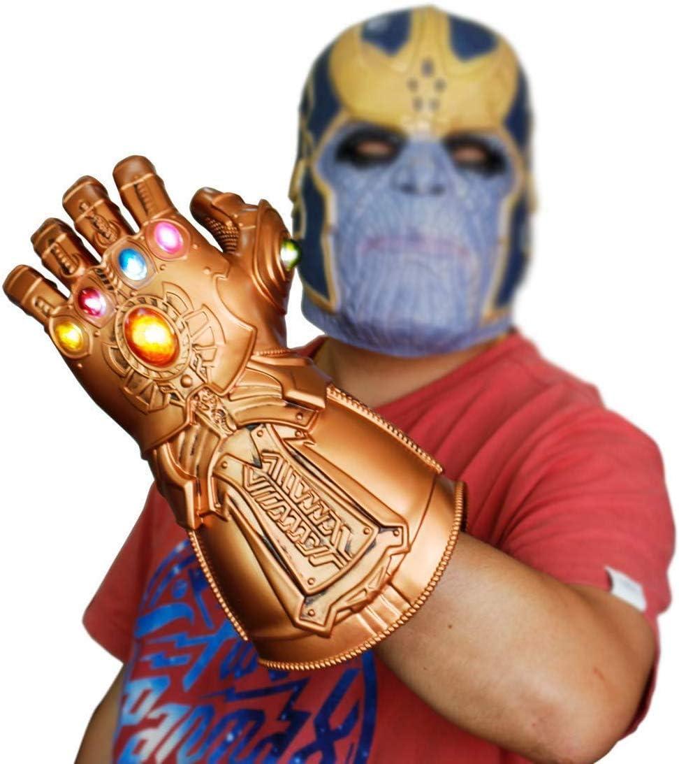 Guantele Thanos Vengadores 4 Final del Juego Iron Man Infinity Gauntlet Hulk Thanos Capit/án Am/érica Thor Cosplay con 2 Pilas Recambio Guante de los Vengadores con Luces led