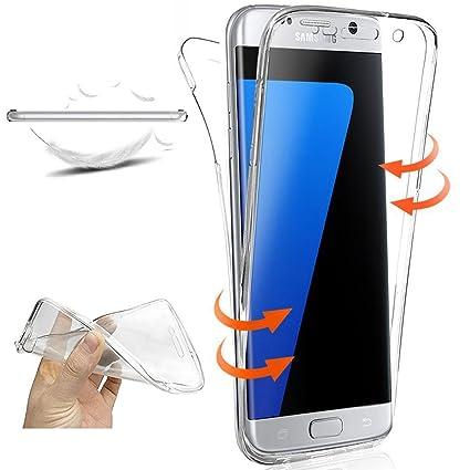 XCYYOO Funda Samsung Galaxy S7 Edge Silicona,Carcasas Samsung Galaxy S7 Edge, [360 Grados Full Body] Transparente Suave Ultrafina Gel Silicona TPU ...