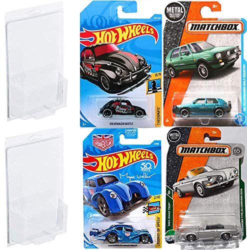 Drive VW Pack Cars Racer Volkswagen Kafer Series Hot Wheels Urban Outlaw Magnus Walker Blue / Beetle Black / Matchbox Golf Country + Type 34 Karmann GHIA 4 Bundle in Protective Cases