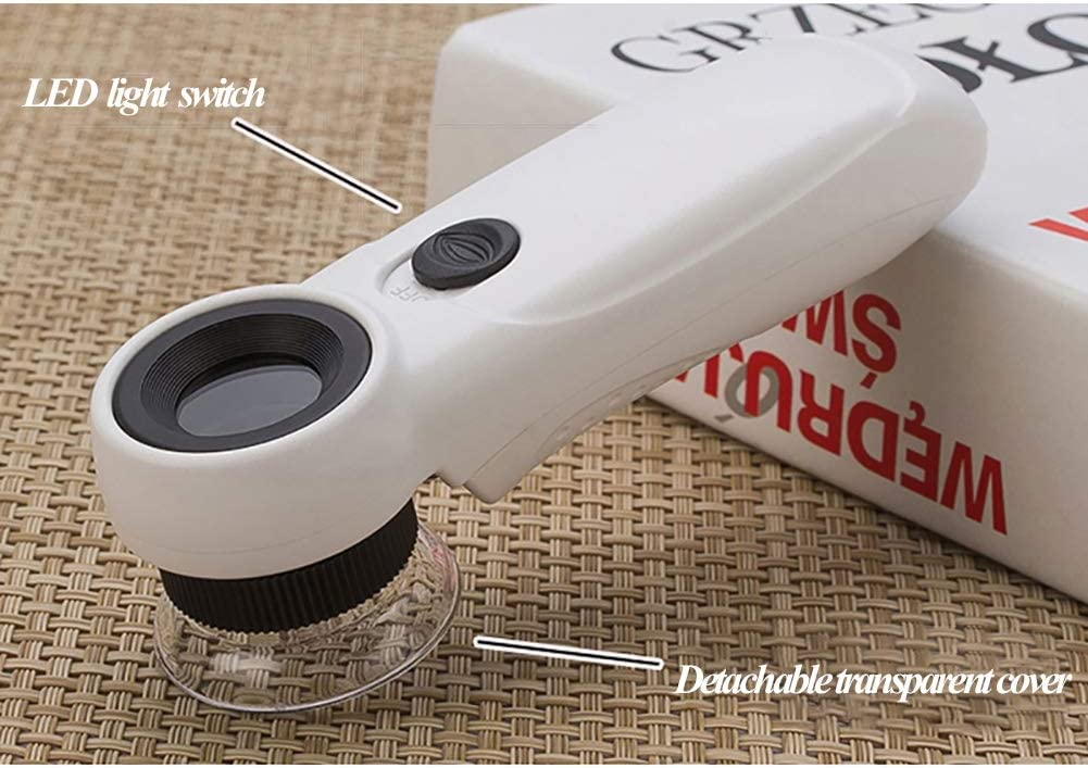 Engravings Coins Stamps Eye Loupe Magnifier with Light Gems Kumiy LED Lighted 45X Multi-Power Mini Loupe Magnifier Great for Diamonds