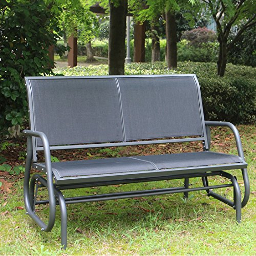 Outdoor Swing Glider Chair, Superjare Patio Bench for 2 Person, Garden Rocking Seating - Dark Gray (Gliders Swings Furniture And Patio)