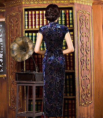 Luck Femme Robe Longue Chinoise Qipao Traditionnelle Classique Motif Imprimé en Velours Bleu