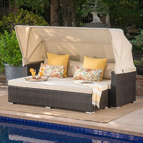 Grayson Outdoor Aluminum Framed Wicker Sofa with Water Resistant Canopy and Cushions (Multi-brown/Beige)