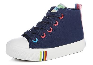 Amazon Com Iduoduo Kids Rainbow School Tennis Shoes High Top Side