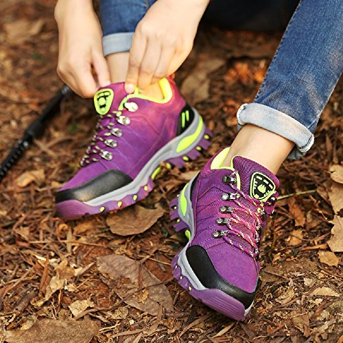 NEOKER Mens Womens Walking Shoes Low-Top Hiking Trainers Trekking Climbing Driving Outdoor Sneakers Size 3-10 UK Purple h56RMJC24n
