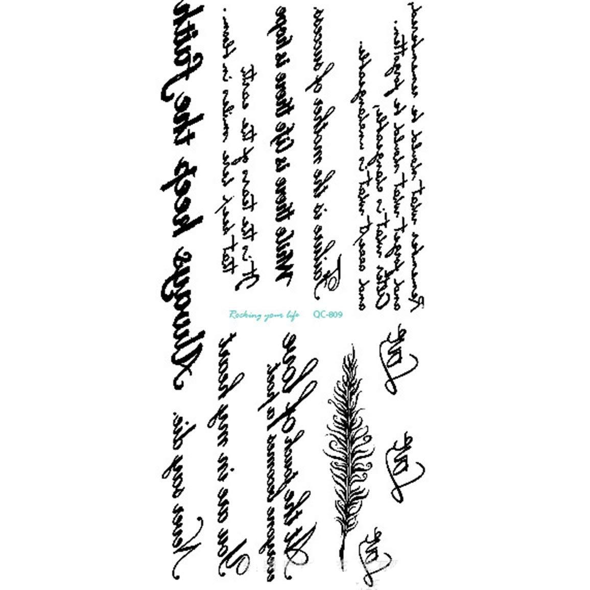 fghfhfgjdfj Letra Inglesa Impermeable Etiqueta engomada del Tatuaje Etiqueta engomada Impermeable del Tatuaje de la Personalidad 3D Personalidad Tatuaje Temporal de la Moda