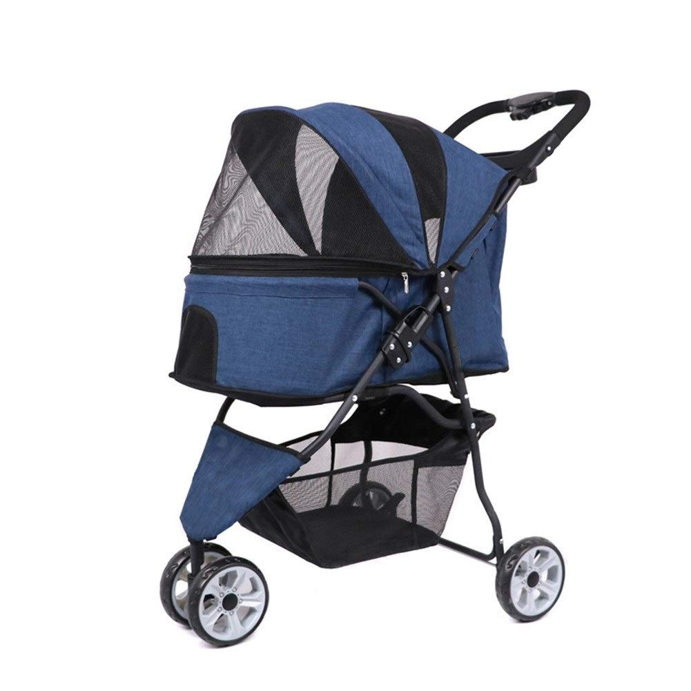 bluee Ryan Dog Pushchair, Stroller Pram Carrier Pet Cart Portable Puppy Jogger Folding 3 Wheels Outdoor Travel Cat Trolley (color   bluee)
