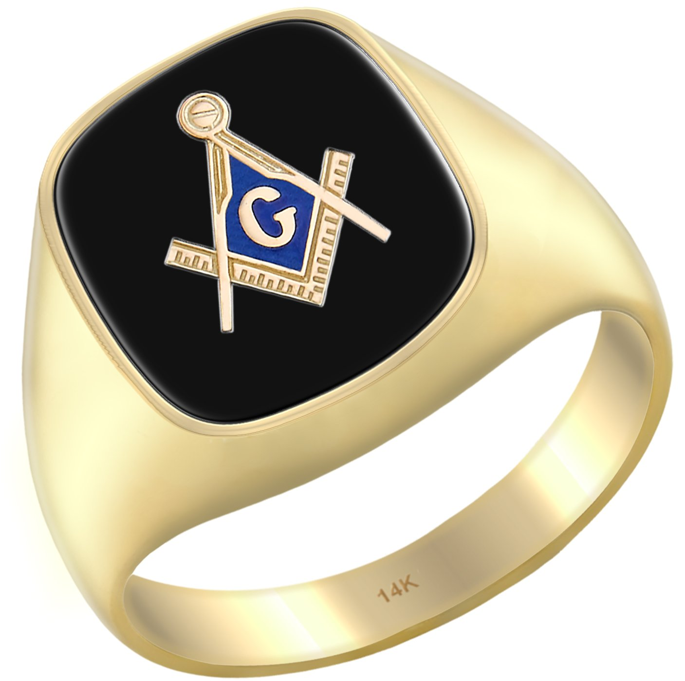 US Jewels And Gems Men's 14k Yellow Gold Blue Lodge Simulated Black Onyx Solid Back Freemason Ring, Size 9
