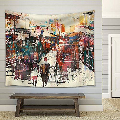 Couple Walking on Harbor Pier with Colorful Boats Illustration Painting Fabric Wall