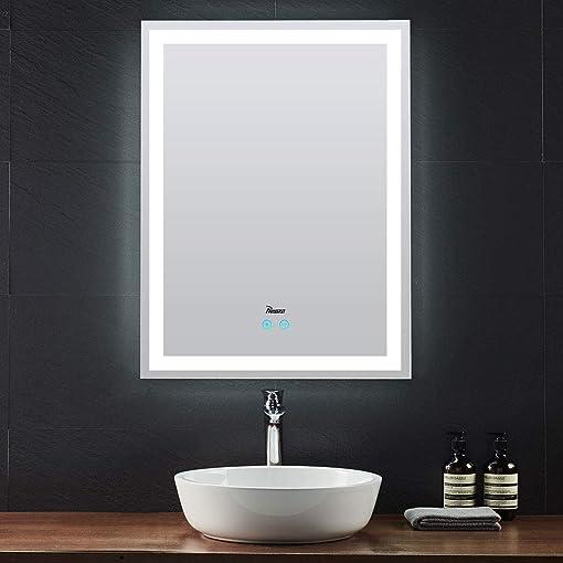 PHASAT LED Bathroom Mirror 31.5 x 23.6 Vertical Anti-Fog Wall Mount Vanity Mirror,LED Lighted Make Up Mirror,PTMS01U